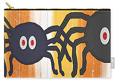 Halloween Spiders Sign Carry-all Pouch by Linda Woods