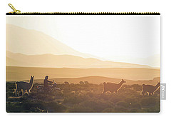 Herd Of Llamas Lama Glama In A Desert Carry-all Pouch by Panoramic Images