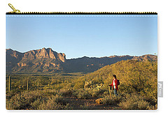 Hiker Standing On A Hill, Phoenix Carry-all Pouch by Panoramic Images