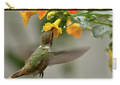 Hummingbird Sips Nectar Carry-all Pouch by Heiko Koehrer-Wagner
