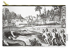Hunting Alligators In The Southern States Of America Carry-all Pouch by Theodor de Bry