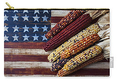 Indian Corn On American Flag Carry-all Pouch by Garry Gay