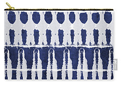 Indigo And White Shibori Design Carry-all Pouch by Linda Woods