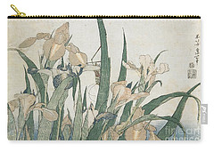 Iris Flowers And Grasshopper Carry-all Pouch by Hokusai