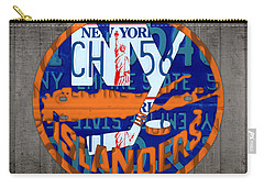 Islanders Hockey Team Retro Logo Vintage Recycled New York License Plate Art Carry-all Pouch by Design Turnpike