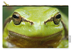 It's Not Easy Being Green _ Tree Frog Portrait Carry-all Pouch by Roeselien Raimond