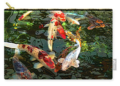 Japanese Koi Fish Pond Carry-all Pouch by Jennie Marie Schell
