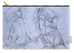 Jimmy Page And Robert Plant Live Concert-pen Portrait Carry-all Pouch by Fabrizio Cassetta