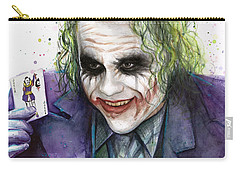 Joker Watercolor Portrait Carry-all Pouch by Olga Shvartsur