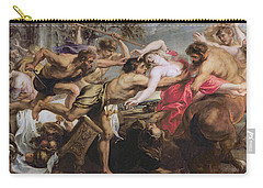 Lapiths And Centaurs Oil On Canvas Carry-all Pouch by Peter Paul Rubens