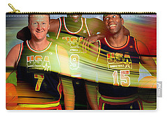 Larry Bird Michael Jordon And Magic Johnson Carry-all Pouch by Marvin Blaine