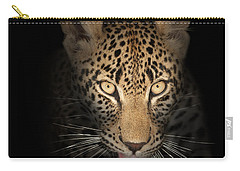 Leopard In The Dark Carry-all Pouch by Johan Swanepoel