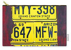 License Plate Map Of Arizona By Design Turnpike Carry-all Pouch by Design Turnpike
