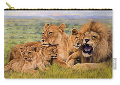 Lion Family Carry-all Pouch by David Stribbling