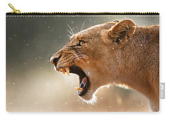 Lioness Displaying Dangerous Teeth In A Rainstorm Carry-all Pouch by Johan Swanepoel