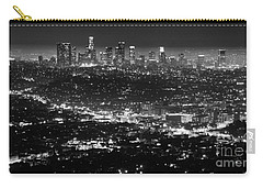 Los Angeles Skyline At Night Monochrome Carry-all Pouch by Bob Christopher