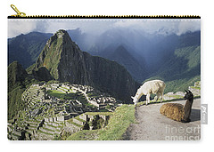 Machu Picchu And Llamas Carry-all Pouch by James Brunker
