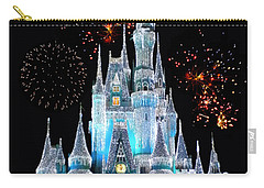Magic Kingdom Castle In Frosty Light Blue With Fireworks 06 Carry-all Pouch by Thomas Woolworth