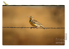 Meadowlark And Barbed Wire Carry-all Pouch by Robert Frederick