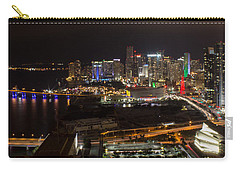 Miami After Dark II Skyline  Carry-all Pouch by Rene Triay Photography