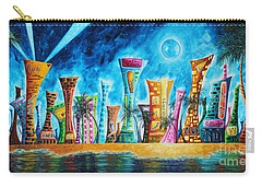 Miami City South Beach Original Painting Tropical Cityscape Art Miami Night Life By Madart Absolut X Carry-all Pouch by Megan Duncanson