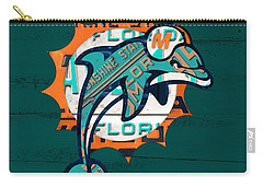 Miami Dolphins Football Team Retro Logo Florida License Plate Art Carry-all Pouch by Design Turnpike
