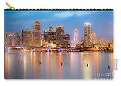 Miami Skyline On A Still Night- Soft Focus  Carry-all Pouch by Rene Triay Photography