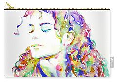 Michael Jackson - Watercolor Portrait.6 Carry-all Pouch by Fabrizio Cassetta
