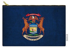 Michigan State Flag Art On Worn Canvas Carry-all Pouch by Design Turnpike