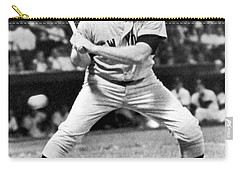 Mickey Mantle At Bat Carry-all Pouch by Underwood Archives