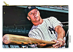 Mickey Mantle Painting Carry-all Pouch by Florian Rodarte