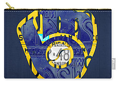 Milwaukee Brewers Vintage Baseball Team Logo Recycled Wisconsin License Plate Art Carry-all Pouch by Design Turnpike