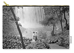 Carry-all Pouch featuring the photograph Minnehaha Falls Minneapolis Minnesota 1915 Vintage Photograph by A Gurmankin