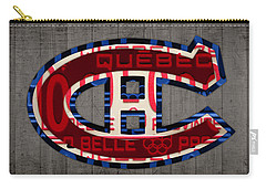 Montreal Canadiens Hockey Team Retro Logo Vintage Recycled Quebec Canada License Plate Art Carry-all Pouch by Design Turnpike