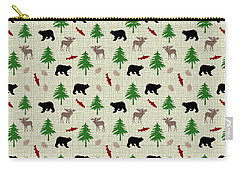 Moose And Bear Pattern Carry-all Pouch by Christina Rollo
