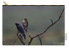 Mountain Bluebird Pair Carry-all Pouch by Mike  Dawson
