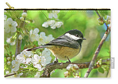 My Little Chickadee In The Cherry Tree Carry-all Pouch by Jennie Marie Schell