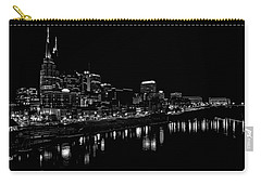 Nashville Skyline At Night In Black And White Carry-all Pouch by Dan Sproul