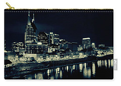 Nashville Skyline Reflected At Night Carry-all Pouch by Dan Sproul