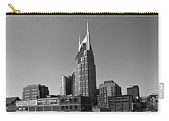 Nashville Tennessee Skyline Black And White Carry-all Pouch by Dan Sproul
