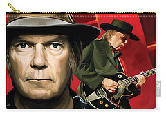 Neil Young Artwork Carry-all Pouch by Sheraz A