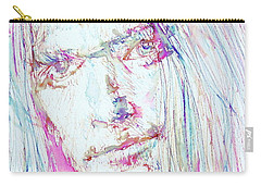 Neil Young - Colored Pens Portrait Carry-all Pouch by Fabrizio Cassetta