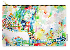 Neil Young Playing The Guitar - Watercolor Portrait.1 Carry-all Pouch by Fabrizio Cassetta