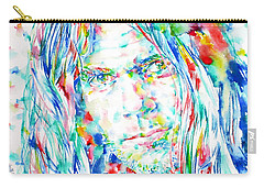 Neil Young - Watercolor Portrait Carry-all Pouch by Fabrizio Cassetta