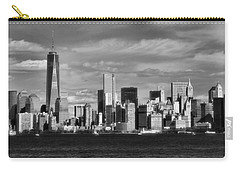 New York City Skyline Black And White Carry-all Pouch by Dan Sproul