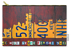 New York City Skyline License Plate Art 911 Twin Towers Statue Of Liberty Carry-all Pouch by Design Turnpike