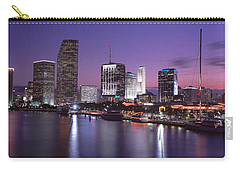 Night Skyline Miami Fl Usa Carry-all Pouch by Panoramic Images