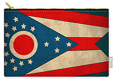 Ohio State Flag Art On Worn Canvas Carry-all Pouch by Design Turnpike