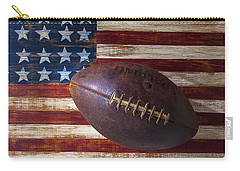 Old Football On American Flag Carry-all Pouch by Garry Gay