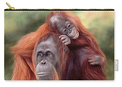 Orangutans Painting Carry-all Pouch by Rachel Stribbling